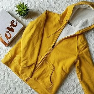💕 Land's End Yellow Hooded Zip-Up Sweatshirt